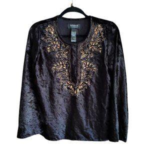 Vintage Liz Claiborne velvet embroidered tunic